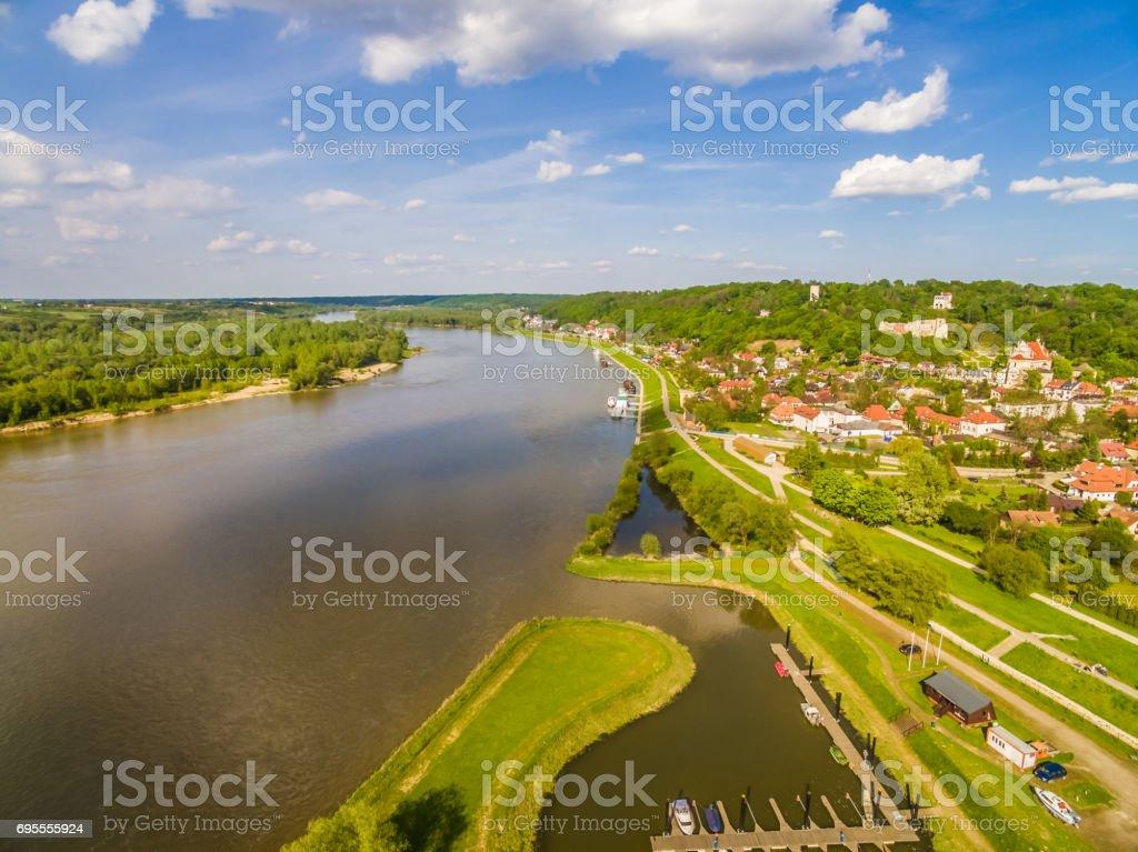 Landscape with river Vistula and Kazimierz Dolny. Bird's-eye view. Poland - Kazimierz Dolny. stock photo