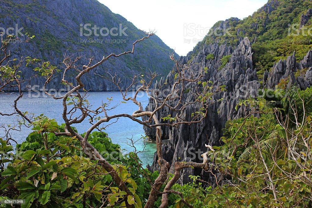 Landscape with rocks and blue bay. El Nido, Palawan island stock photo