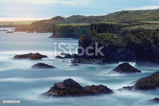 istock Landscape with rocky cliffs on seashore. 859968346