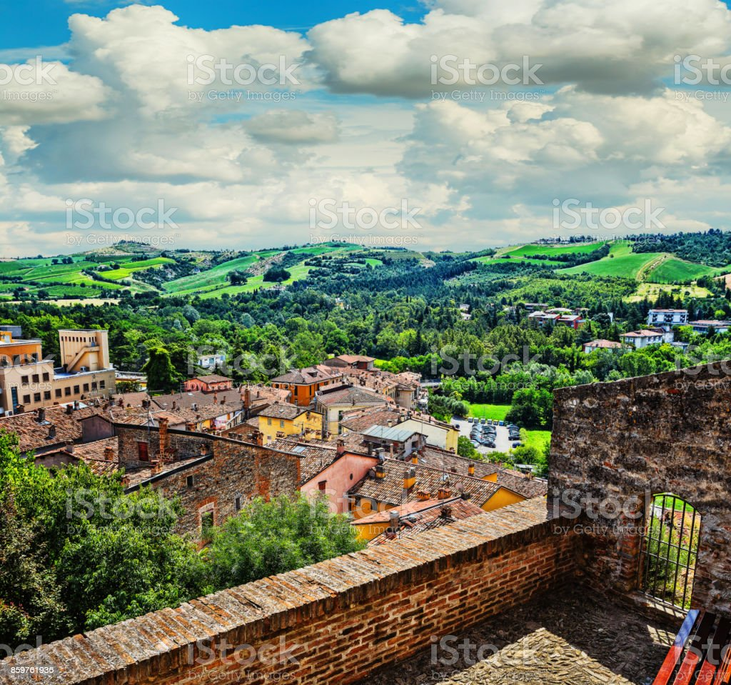 landscape with roofs of houses in small tuscan town in province stock photo