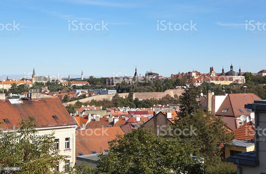 Landscape with rooftops and towers of Prague. Czech Republic. stock photo