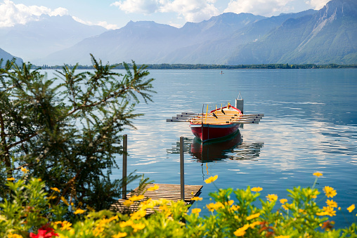 landscape with rowing boat on the on the Lake Geneva, Switzerland