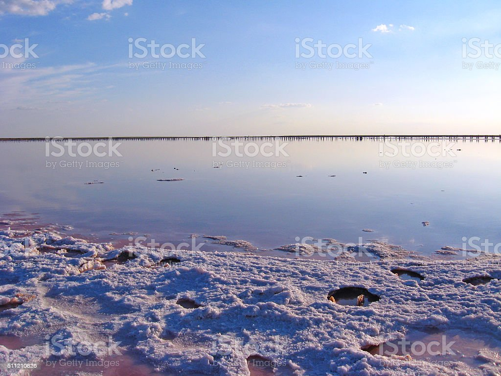 landscape with salty sea in Sivash stock photo