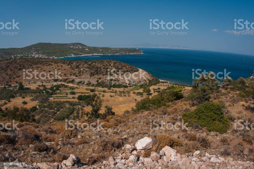 Landscape with sea bay on island of Aegina in Saronic Gulf, Greece stock photo
