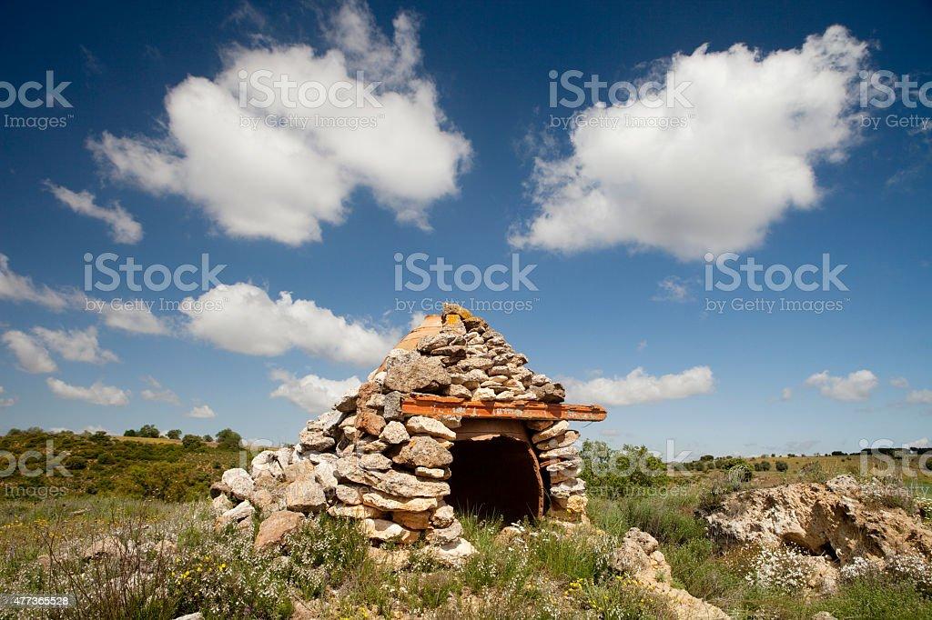 Landscape with Shepherd's Hut stock photo
