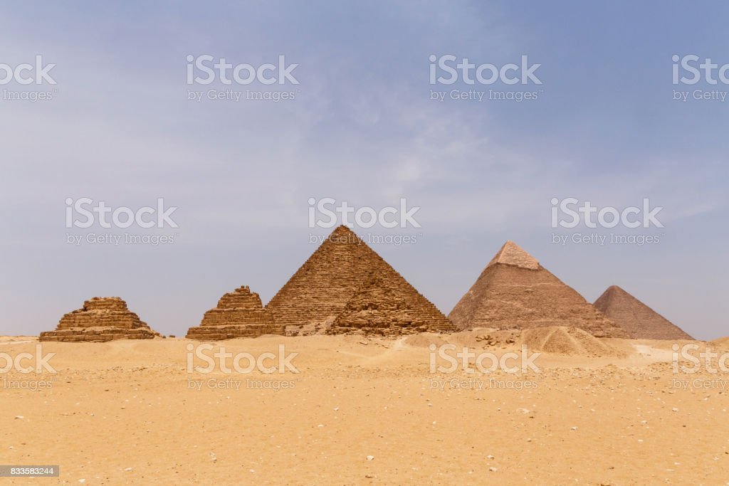 landscape with six pyramids stock photo