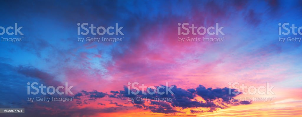 landscape with sky, clouds and sunrise a panoramic view stock photo