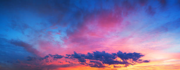 landscape with sky, clouds and sunrise a panoramic view - twilight stock pictures, royalty-free photos & images