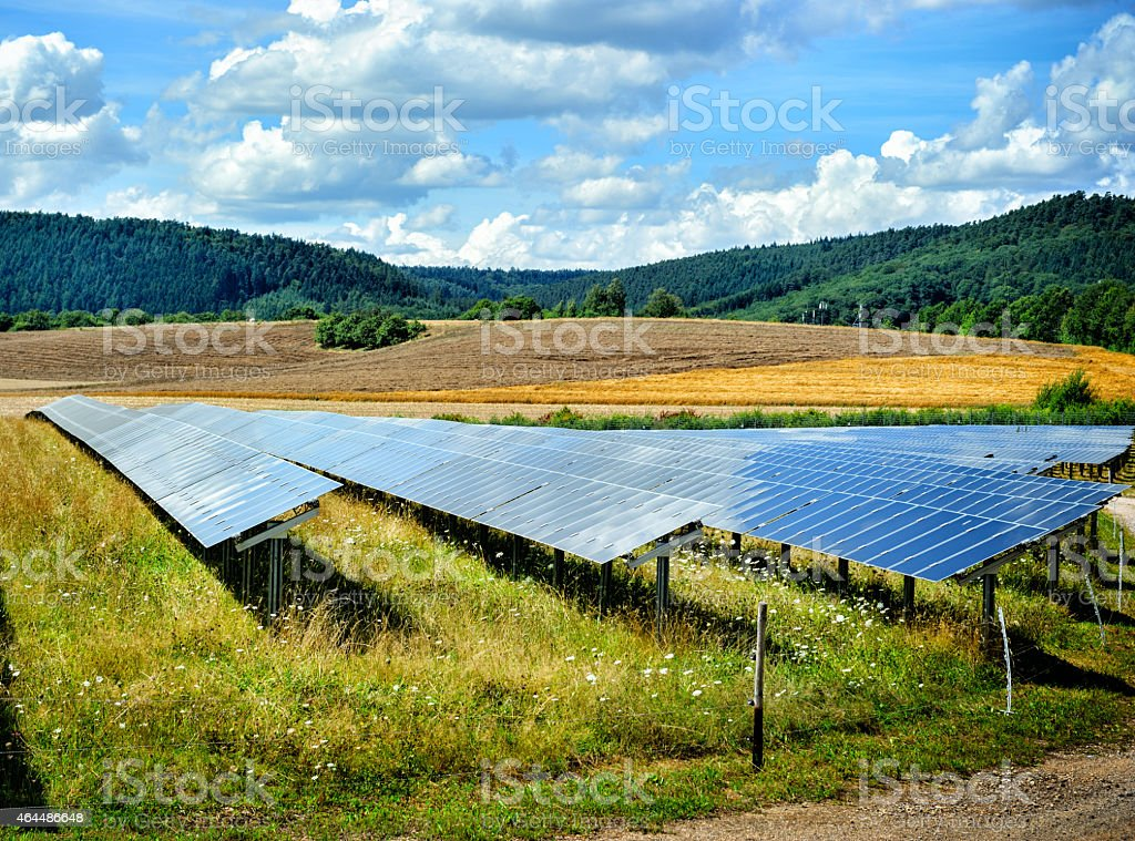 Landscape with solar energy field stock photo