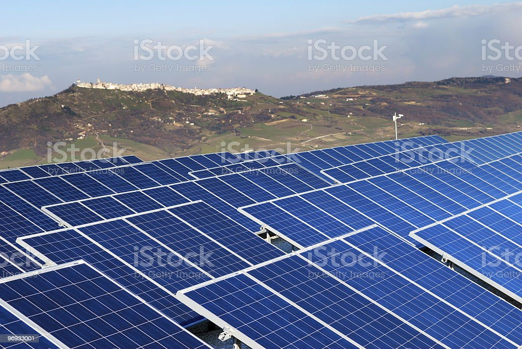 Landscape with solar panel installation royalty-free stock photo