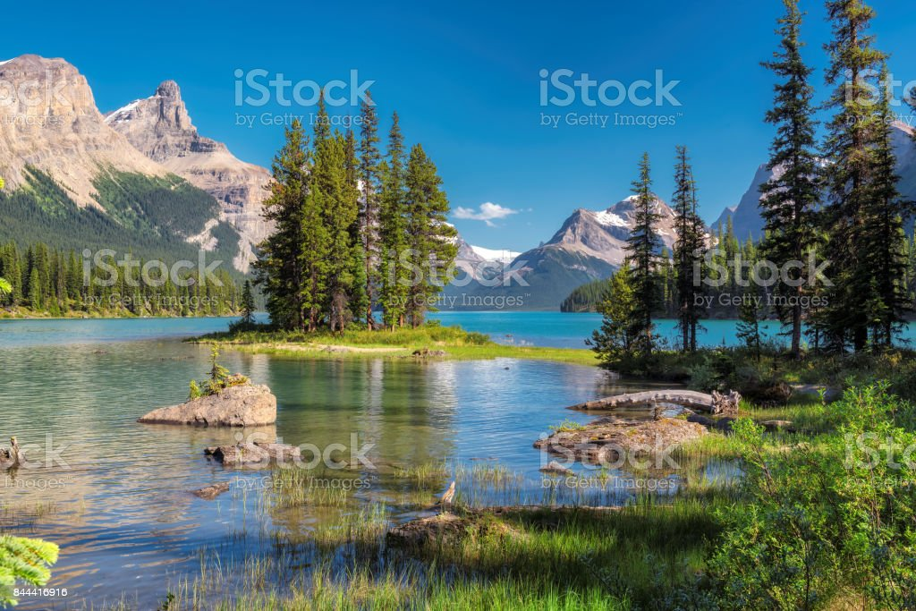 Landscape with Spirit Island in Canadian Rockies stock photo
