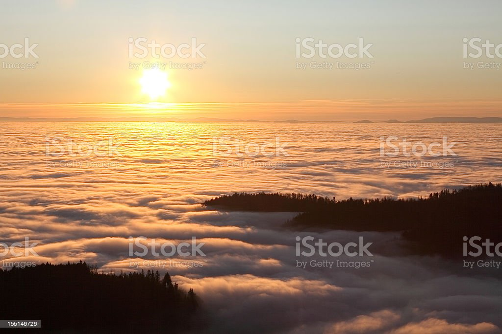 landscape with sunset and rolling hills in Black Forest royalty-free stock photo