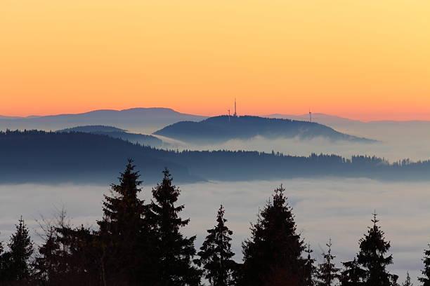 Landschaft mit Sonnenuntergang – Foto