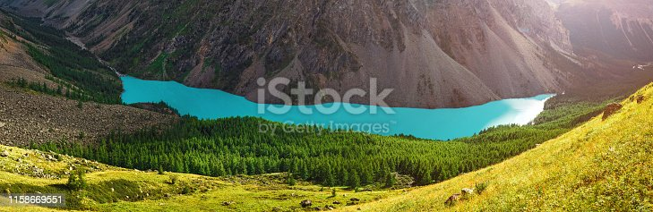istock Landscape with the Incredible Blue Shavla Lake in the Altai Mountains 1158669551