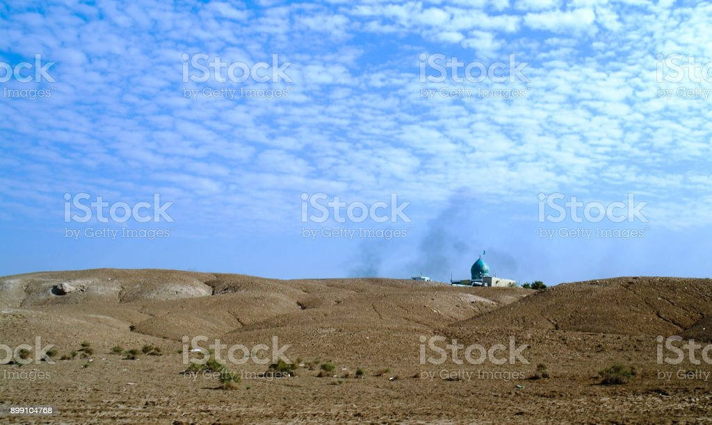 Landscape with the Mosque on the place of the prophet Abraham birth Borsippa, Babil, Iraq stock photo