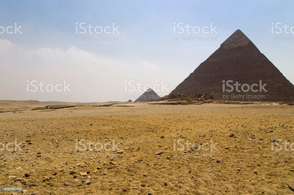 Landscape with the pyramids of Khafre in the foreground stock photo