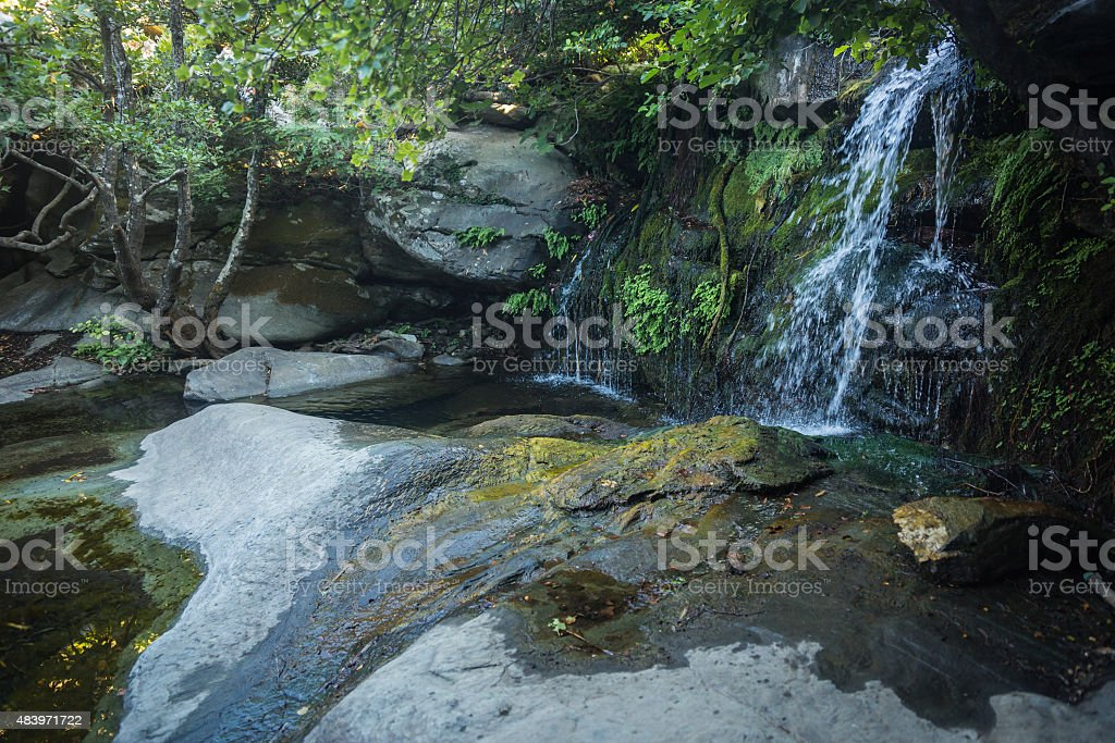 Landscape with the river and reflection in water stock photo