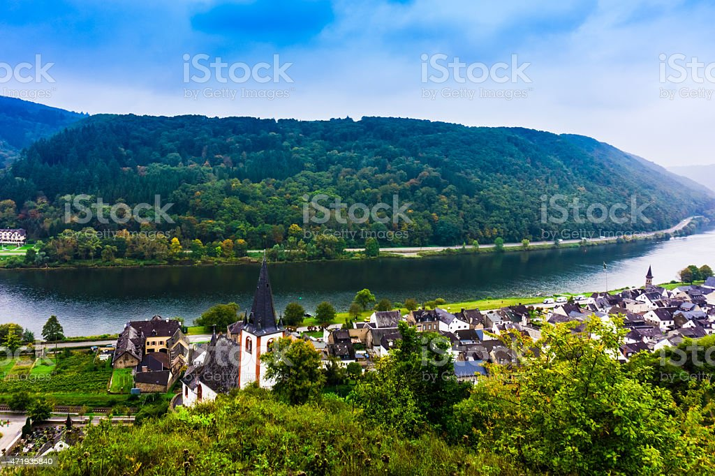 Landscape with the river Moselle in Germany.  panorama of Mosell stock photo