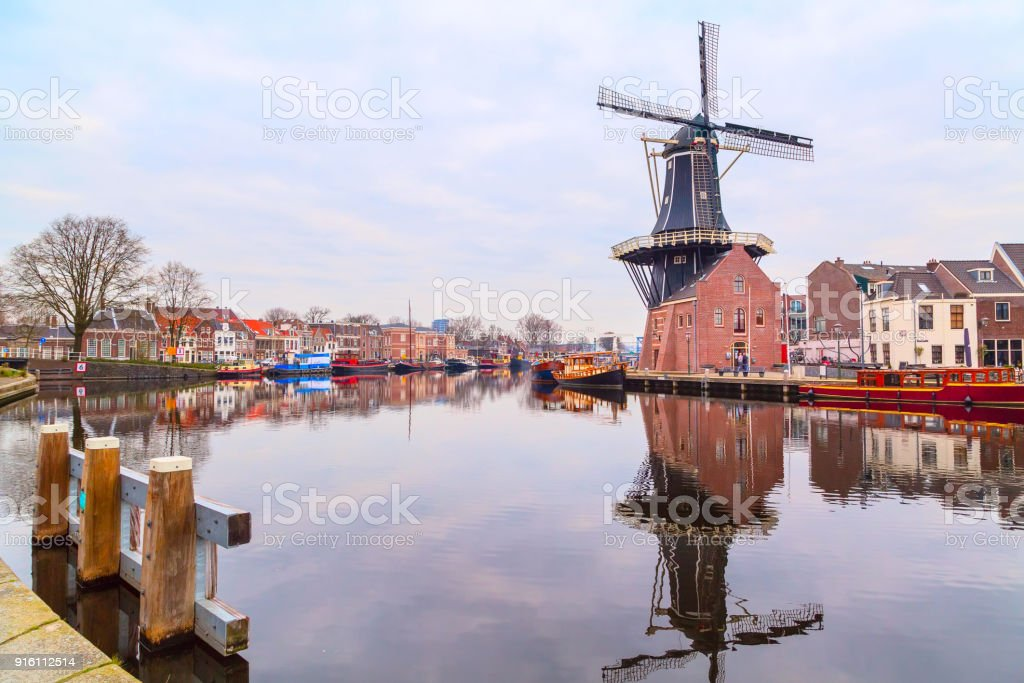landscape with the windmill, Haarlem, Holland stock photo