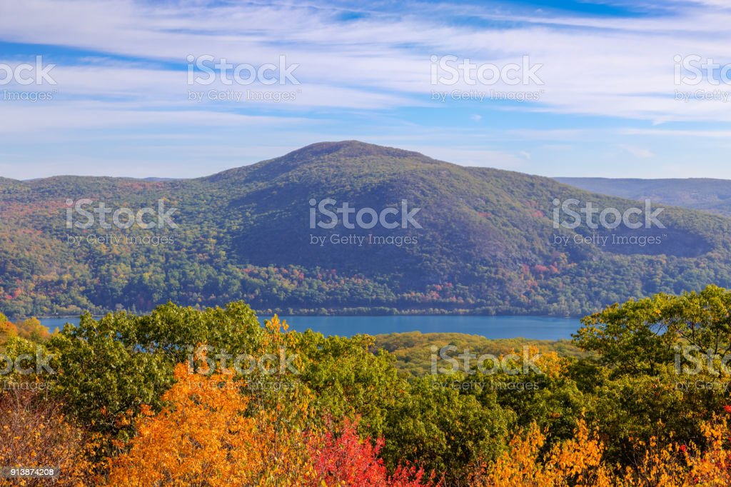 Landscape with Trees in Autumn Colors (Foliage), Catskill  Mountains and Hudson River, Hudson Valley, New York. Landscape with Trees in Autumn Colors (Foliage), Catskill  Mountains and Hudson River, Hudson Valley, New York. Canon EOS 6D (full frame sensor). Polarizing filter. HDR image. Appalachia Stock Photo