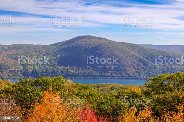 Landscape With Trees In Autumn Colors Catskill Mountains And Hudson River Hudson Valley New York Stock Photo - Download Image Now