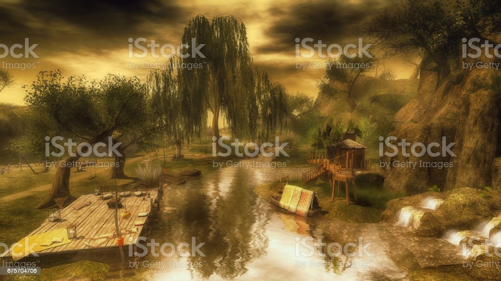 Landscape with trees in reflection royalty-free stock photo