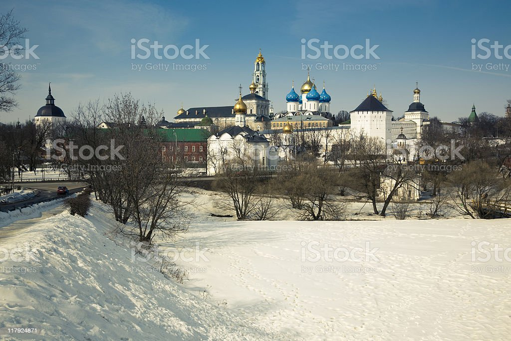 Landscape with Trinity Lavra of St. Sergius royalty-free stock photo