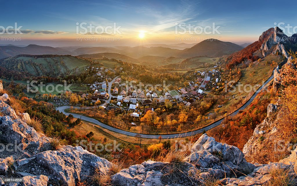 Landscape with village, mountains and blu sky - panoramic stock photo