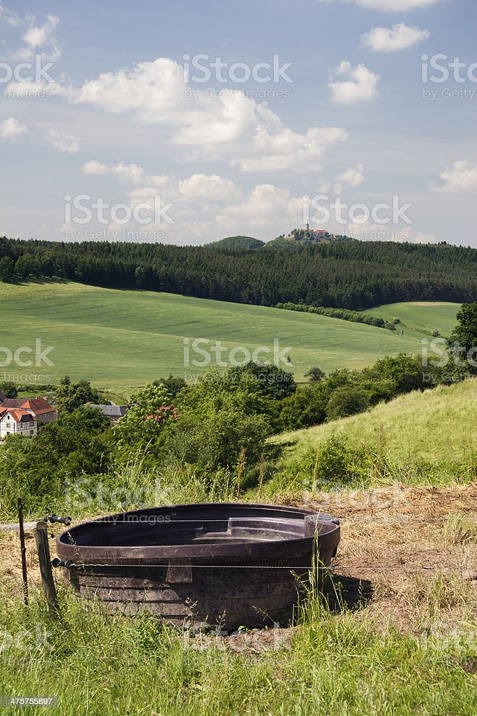 Landscape with watering bucket stock photo