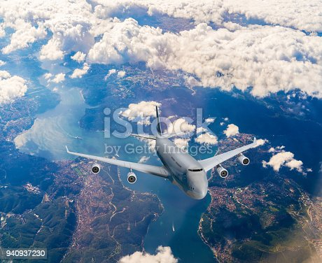 816320512 istock photo Landscape with white passenger airplane 940937230