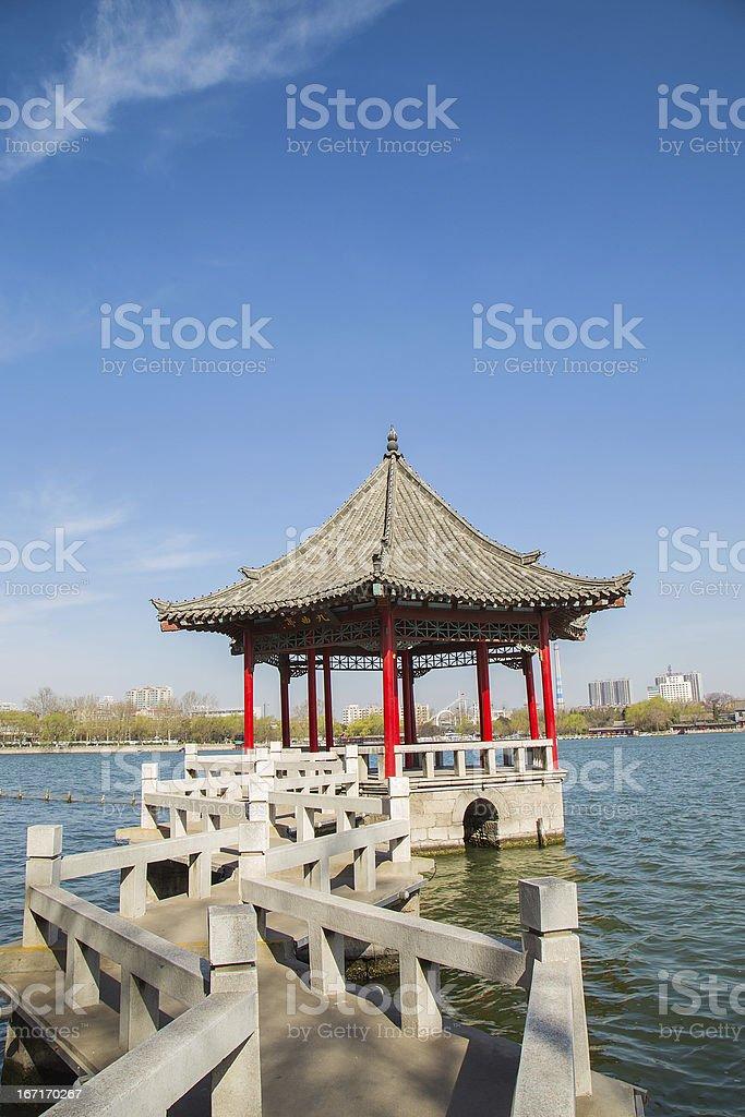 landscape:chinese pavilion and lake royalty-free stock photo
