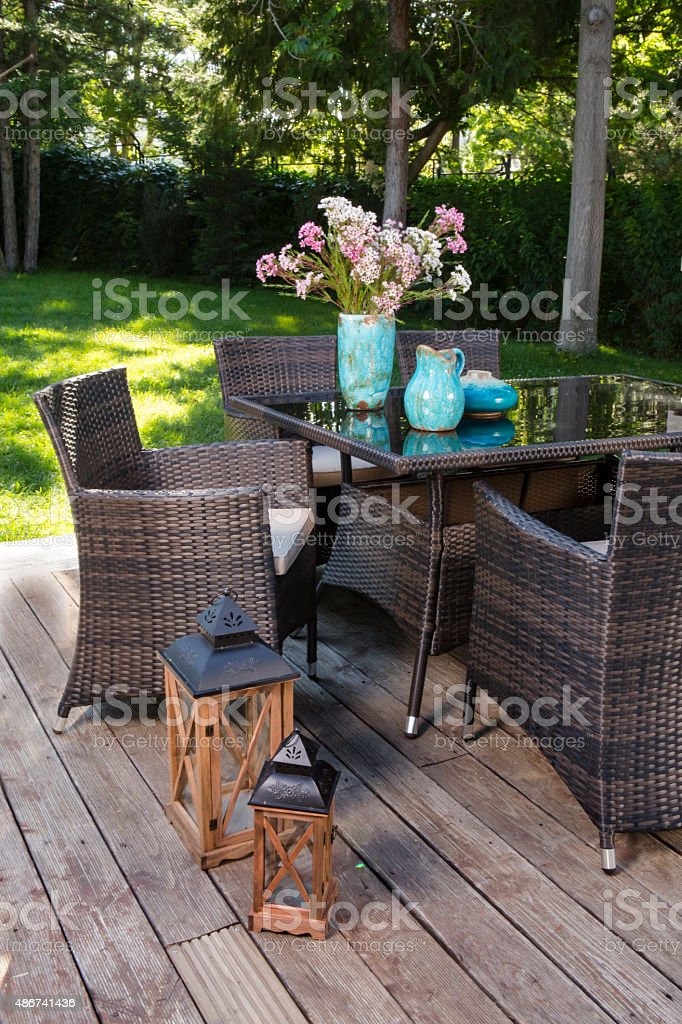 Landscaped Back Yard Patio Garden With Outdoor Furniture Stock Photo Download Image Now Istock