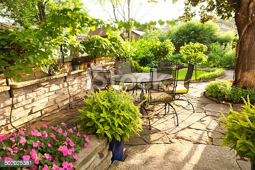 Landscaped back yard patio garden with potted plants for Landscaped back gardens
