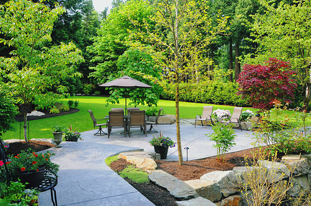 Landscaped Back Yard Landscaped Back Yard landscaped stock pictures, royalty-free photos & images