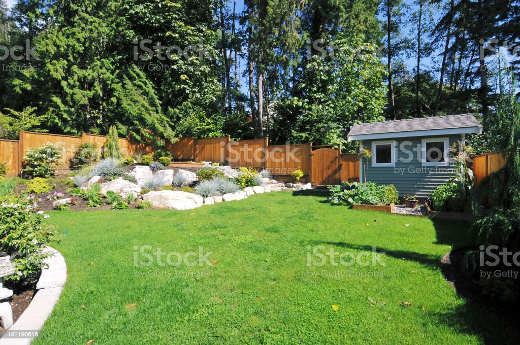 Landscaped Back Yard royalty-free stock photo
