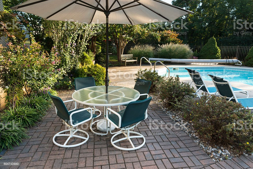 Landscaped Backyard Patio and Pool stock photo