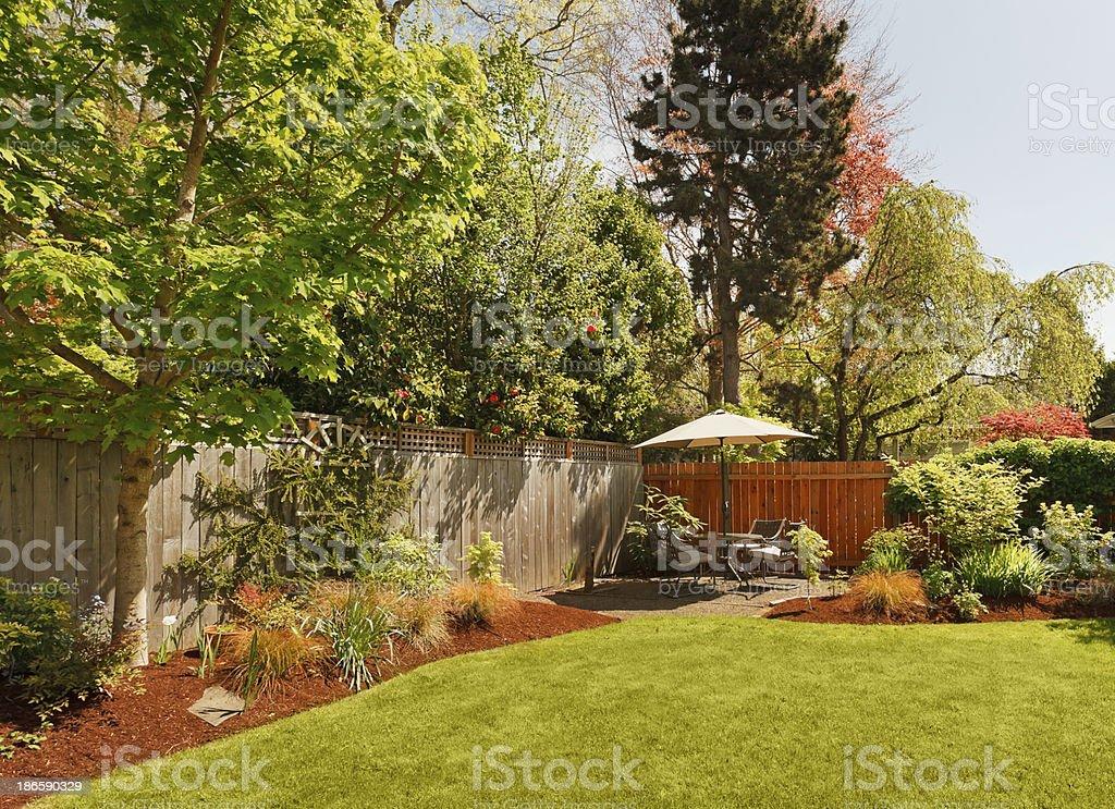 Beautiful landscaped backyard.