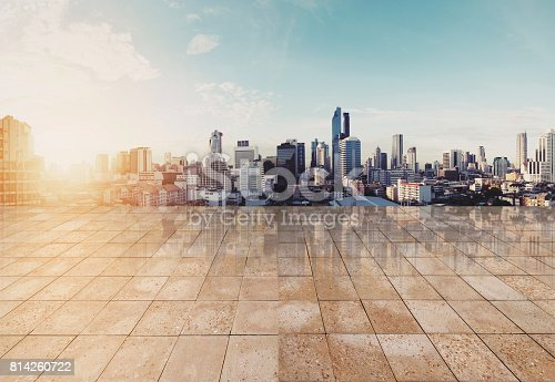 693903950istockphoto Landscaped Bangkok cityspace in sunrise with empty floor, for background 814260722