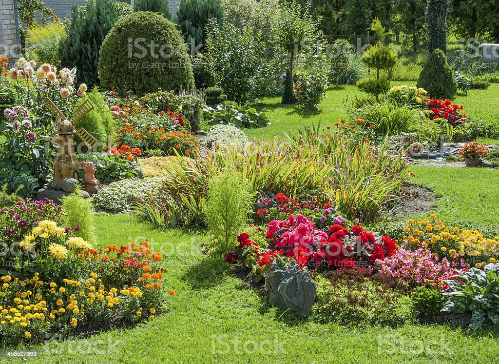 Landscaped flower garden stock photo