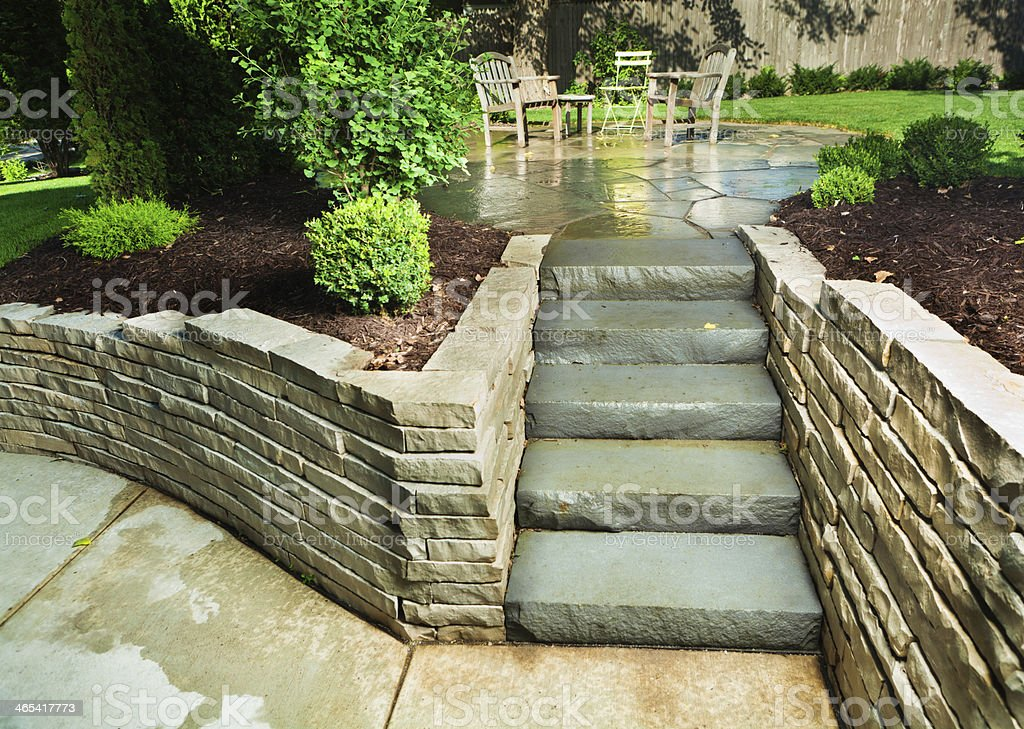 Landscaped Garden Back Yard Patio with Stone Paving Steps, Wall stock photo