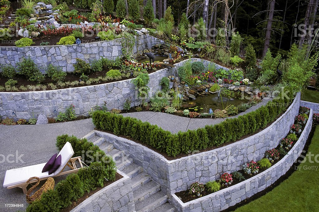 landscaped garden retaining wall stock photo