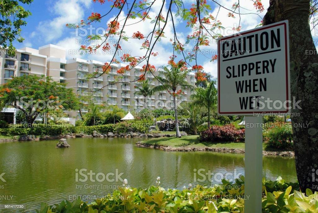 landscaped gardens of Hyatt Regency Saipan stock photo