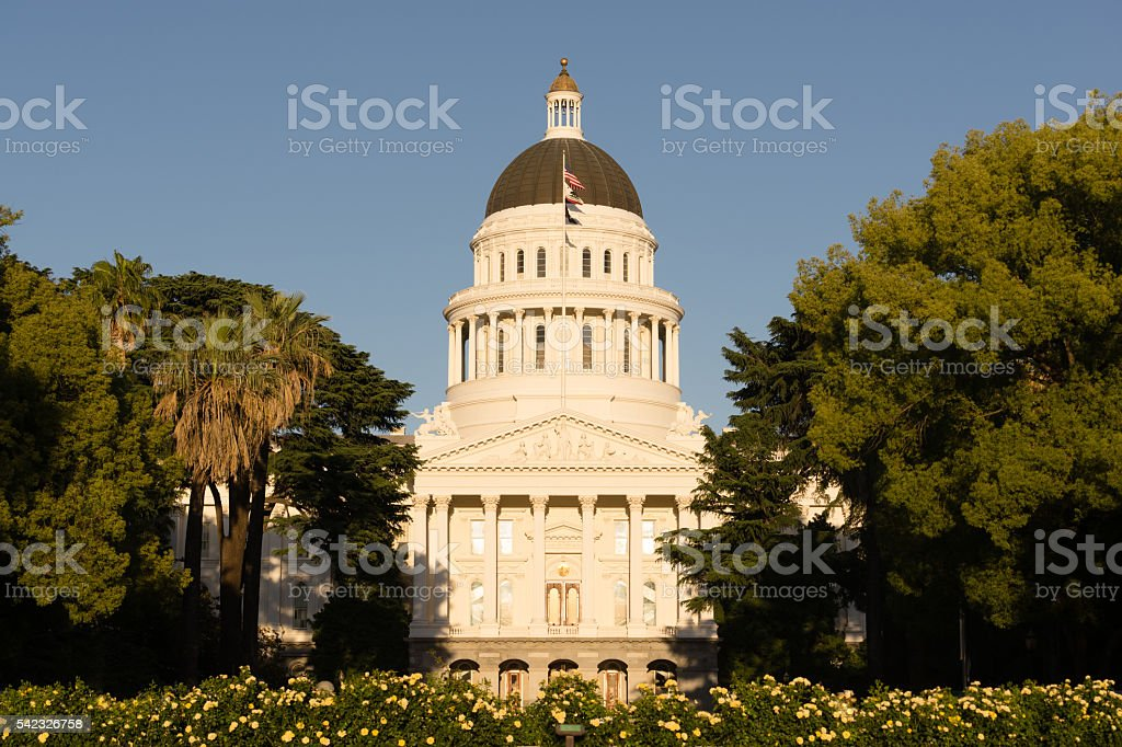Landscaped Grounds Downtown Sacramento California Capital Dome stock photo