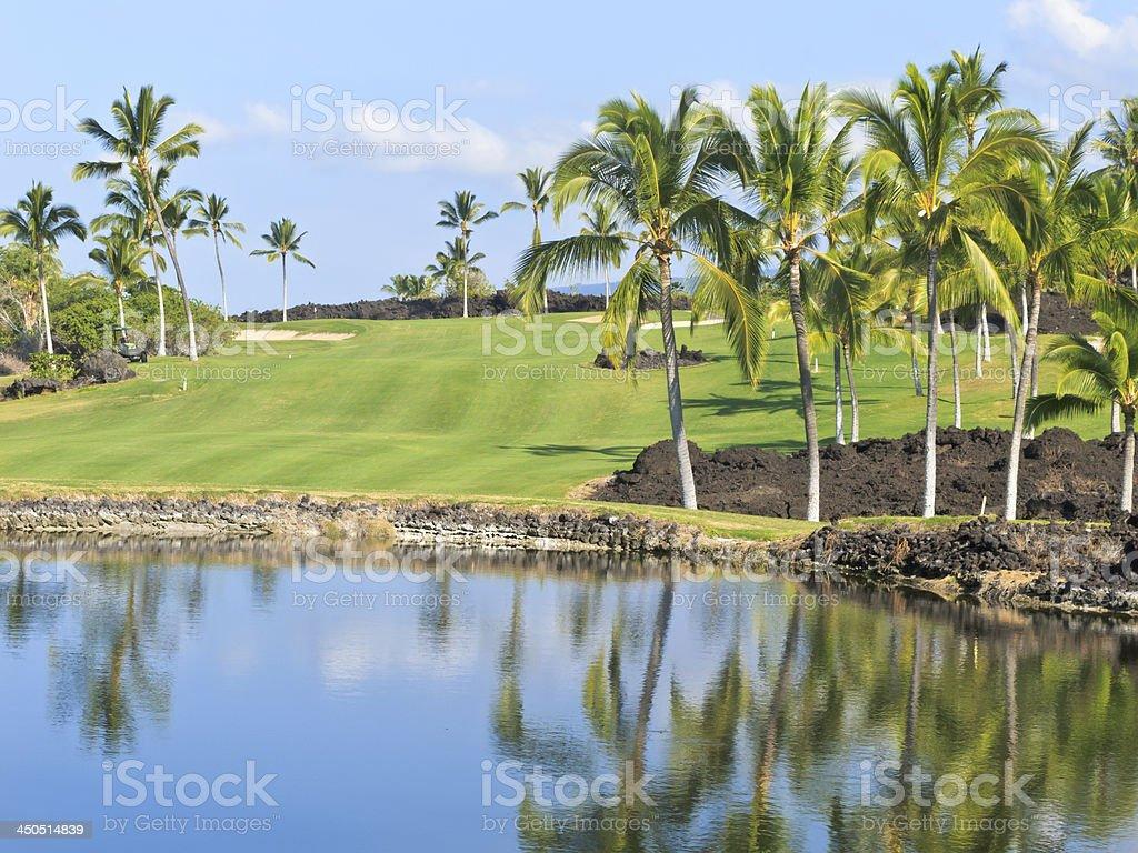 Landscaped Hawaiian golf course stock photo