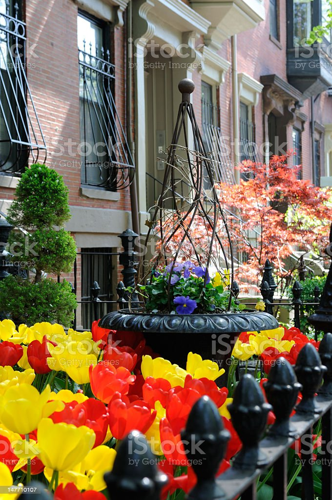 Landscaped Ornamental Garden and Victorian Architecture royalty-free stock photo