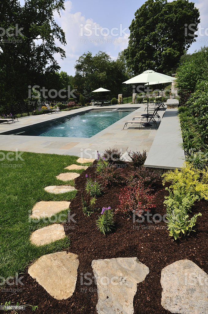 Landscaped Pool and Path stock photo