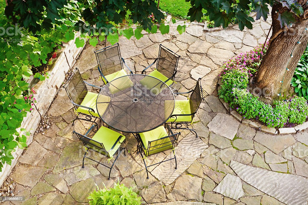 High angle view of beautiful landscaped back yard with outdoor patio...