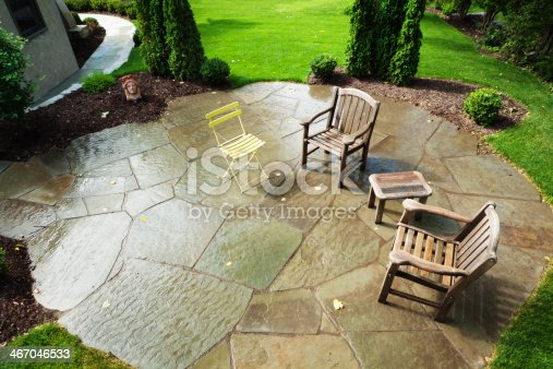 Subject: An urban backyard with garden and patio.