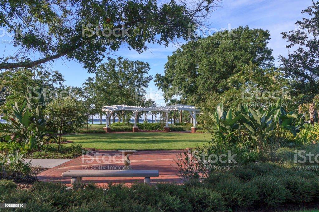 Landscaped Urban Park Setting stock photo