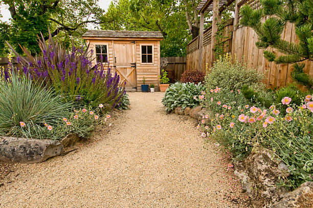 landscaped yard beautifully landscaped backyard with small wooden shed, fence and pathway shed stock pictures, royalty-free photos & images